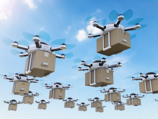 delivery drones flying